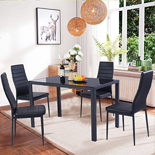 Dining Table Set Modern: EBS BRAND Modern Faux Marble & Glass Dining Table Set And