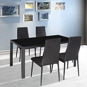 EBS-BRAND-Modern-Faux-Marble-Glass-Dining-Table-Set-and-Faux-Leather-Chairs-Seats-0
