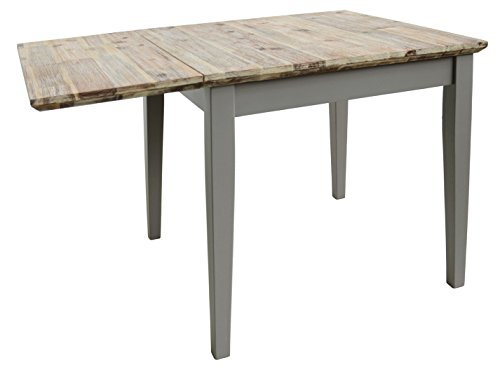 florence square extended table 75 110cm quality dove grey kitchen table with brushed acacia. Black Bedroom Furniture Sets. Home Design Ideas