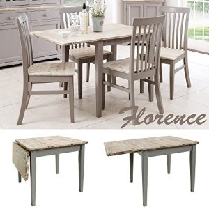 Florence-square-extended-table-75-110cm-Quality-Dove-Grey-kitchen-table-with-brushed-acacia-table-top-0