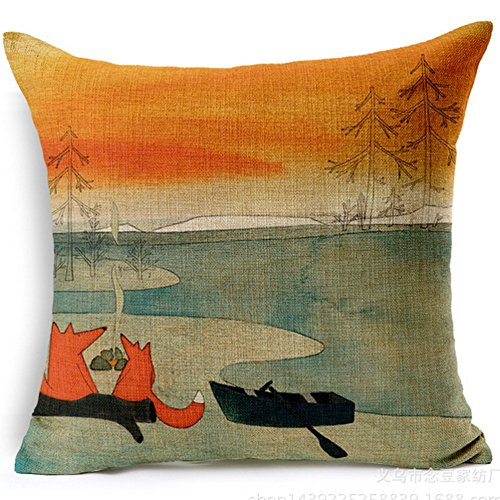 Fox Boating Cartoon Style Handmade Cotton Linen Sofa Decor