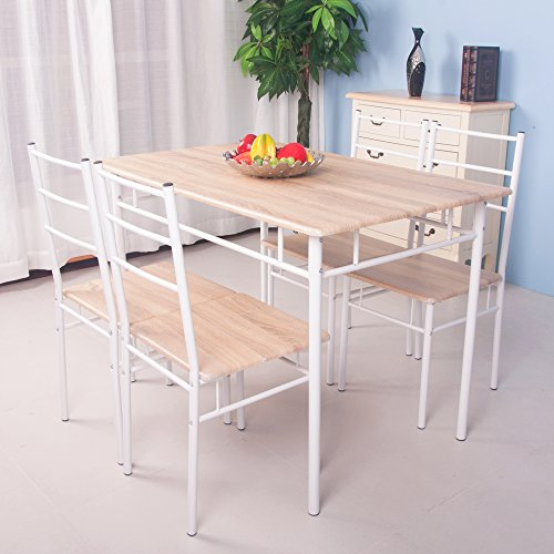 Life Carver 5 Pieces Dining Table And 4 Chairs Set Modern