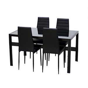 Modern-Faux-Marble-Glass-Dining-Table-Set-and-Faux-Leather-Chairs-Seats-0