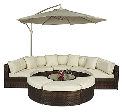 Monaco Large Rattan Sofa Set Semi Circle With Small