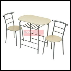 New-3pc-Dining-Set-2-Chairs-and-Table-Metal-Frame-Wooden-Seat-Beech-Furniture-0
