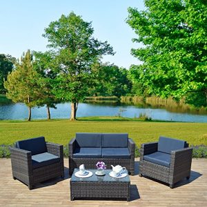 New-4-piece-Grey-Light-Brown-Roma-Rattan-Garden-Furniture-Sofa-set-with-Coffee-Table-and-Chairs-INCLUDES-PROTECTIVE-COVER-0