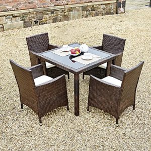 New-5-Piece-Rattan-Dining-Table-For-Conservatory-Patio-Garden-Furniture-0