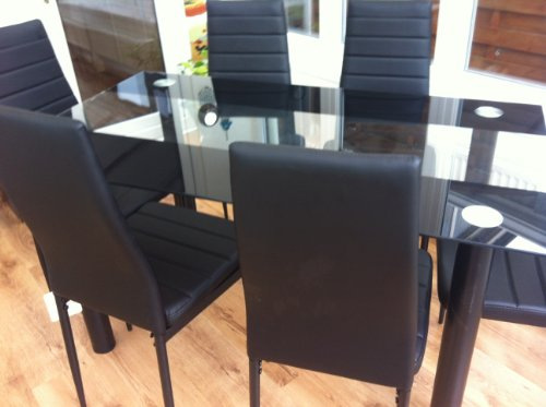 STUNNING GLASS BLACK DINING TABLE SET AND 6