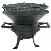 Black-Barrel-Charcoal-BBQ-w-Cast-Iron-Adjustable-Grill-Garden-Camping-Barbeque-0-0