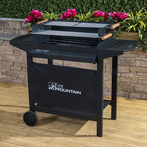 Deluxe-Trolley-Charcoal-Barbecue-Side-Shelves-Portable-0