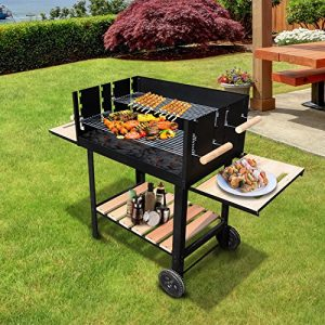 Outsunny-Trolley-Charcoal-BBQ-Barbecue-Grill-Patio-Outdoor-Garden-Heating-Heat-Smoker-138x525x101cm-0