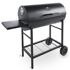 VonHaus-Charcoal-Barrel-BBQ-Smoker-with-Temperature-Gauge--105cm-Steel-Barbecue-Grill-with-Side-Table-0