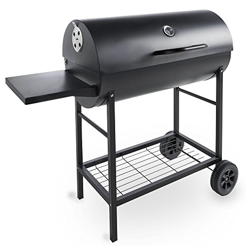 vonhaus charcoal barrel bbq smoker with temperature gauge 105cm steel barbecue grill with. Black Bedroom Furniture Sets. Home Design Ideas