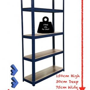 150cm-x-75cm-x-30cm-Blue-5-Tier-175KG-Per-Shelf-875KG-Capacity-Garage-Shed-Storage-Shelving-Units-5-Year-Warranty-0