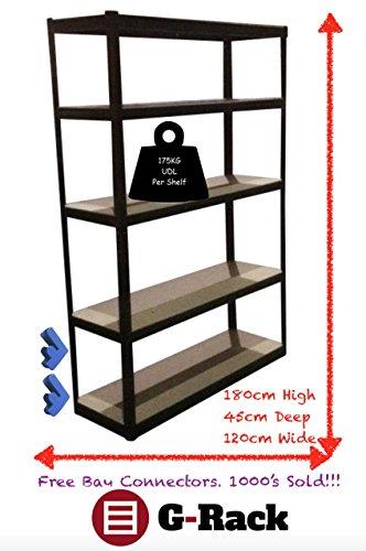 180cm-x-120cm-x-45cm-Black-5-Tier-175KG-Per-Shelf-875KG-Capacity-Extra-Wide-Garage-Shed-Storage-Shelving-Unit-5-Year-Warranty-0