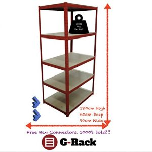 180cm-x-90cm-x-60cm-Red-5-Tier-265KG-Per-Shelf-Heavy-Duty-1325KG-Capacity-Extra-Deep-Garage-Shed-Storage-Shelving-Unit-5-Year-Warranty-0