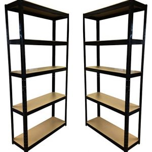2-Bay-180cm-x-90cm-x-30cm-Black-5-Tier-175KG-Per-Shelf-875KG-Capacity-Garage-Shed-Storage-Shelving-Units-5-Year-Warranty-0
