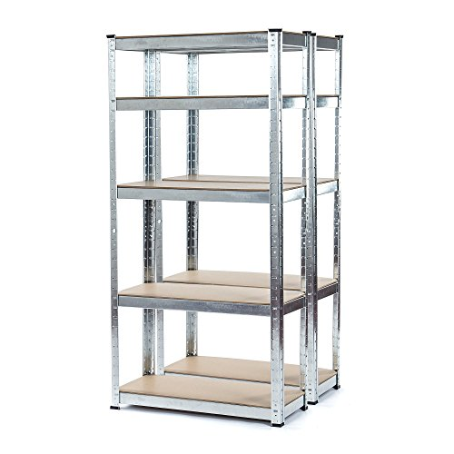 2-Bay-Heavy-Duty-Galvanised-Shelving-Garage-Racking-Unit-150kg-per-shelf-5-Levels-1500mm-H-x-700mm-W-x-300mm-D-FREE-NEXT-DAY-DELIVERY-0