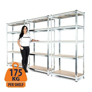 3-Bay-Heavy-Duty-Galvanised-Shelving-Garage-Racking-Unit-175kg-per-shelf-5-Levels-1800mm-H-x-900mm-W-x-400mm-D-FREE-NEXT-DAY-DELIVERY-0