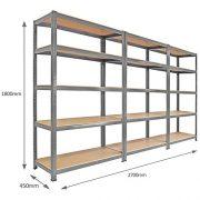 3-x-90cm-Grey-Shed-Utility-Greenhouse-Storage-Racks-Garage-Shelving-Bays-900kg-Capacity-Grey-0-1