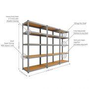 3-x-90cm-Grey-Shed-Utility-Greenhouse-Storage-Racks-Garage-Shelving-Bays-900kg-Capacity-Grey-0-2
