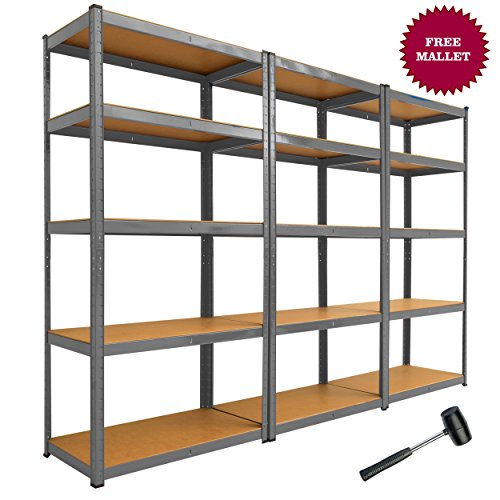 3-x-90cm-Grey-Shed-Utility-Greenhouse-Storage-Racks-Garage-Shelving-Bays-900kg-Capacity-Grey-0