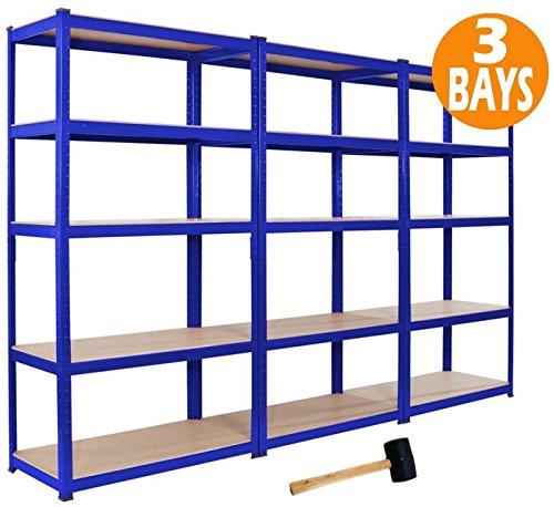 3 x racking bays 90cm x 180cm x 45cm 5 tier shelving bays for 3 bays