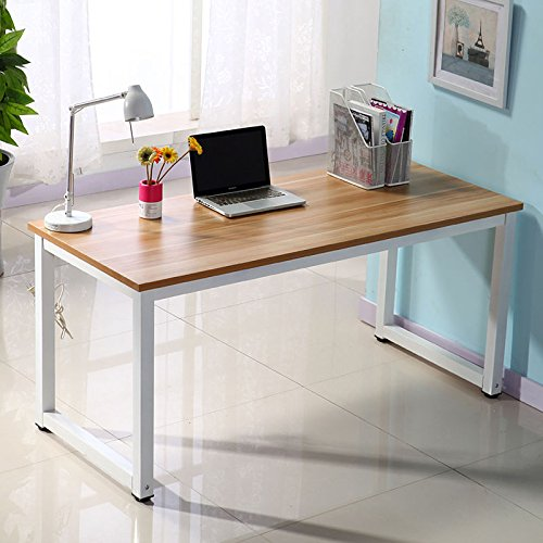Computer Desk Pc Laptop Wood Table Home Office Study: Dripex Modern Simple Style Steel Frame Wooden Home Office