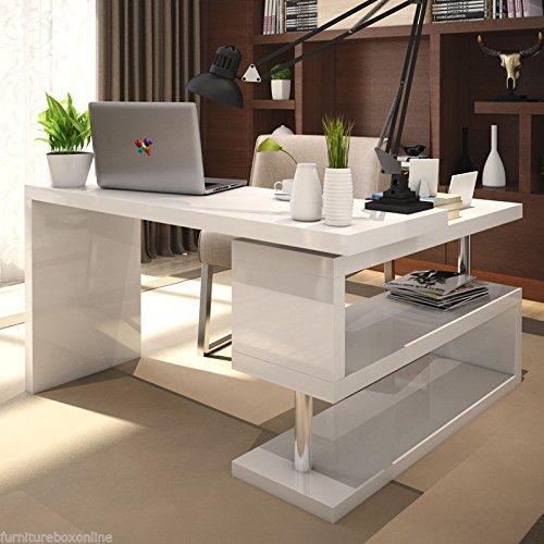 Furnitureboxuk Siena White High Gloss Computer Pc Home
