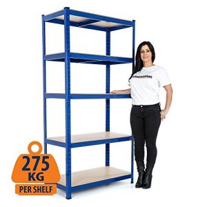 Heavy-Duty-Steel-Shelving-Garage-Racking-Unit-275kg-per-shelf-5-Levels-1800mm-H-x-900mm-W-x-450mm-D-FREE-NEXT-DAY-DELIVERY-0