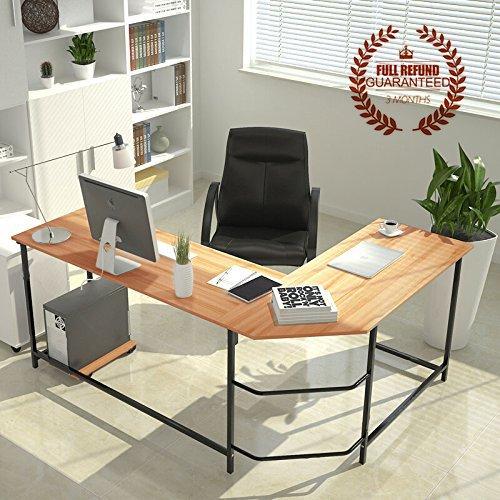 Oversized Wood And Metal Laptop Table: L-Shaped-Corner-Computer-Desk-Large-Corner-PC-Laptop-Study