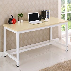 LIVIVO--Simple-Style-Office-Desk-with-Wooden-Top-and-Metal-Frame-The-Perfect-No-Fuss-Workstation-for-your-Home-Office-or-Study-Ideal-for-Writing-Computer-PC-Laptop-0