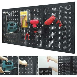 Marko-Storage-Solutions-Peg-Board-Garage-Wall-Tool-Rack-3-Panel-Hanging-Storage-Shed-Tidy-Steel-Pegboard-0