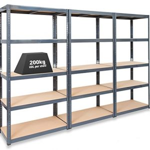 Pack-of-3-Extra-Deep-STORALEX-Garage-Shelving-Racking-Units--UKs-Bestselling-Garage-Storage-Shelves-600mm-Deep-Version-200kg-Per-Shelf-Evenly-Distributed-5-Tier-Shelf-Unit-Metal-MDF-Boltless-Assembly--0