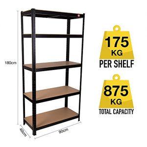 Qualtex-Strong-Industrial-Steel-MDF-5-Tier-Black-Boltless-Heavy-Duty-Garage-Racking-Shelving-Unit-Racking-90cm-x-40cm-x-180cm-875kg-Capacity-175kg-Per-Shelf-0