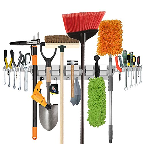 Utility Wall-Mounted Mop Broom Holders, Tool Rack for Home ...