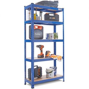 VonHaus-15m-5-Tier-Garage-Shelves-Racking-Utility-Heavy-Duty-Industrial-Steel-MDF-Boltless-Shelving-Unit-Workbench-Massive-875Kg-Capacity-150cm-H-75cm-W-30cm-D-175kg-Per-Shelf-0