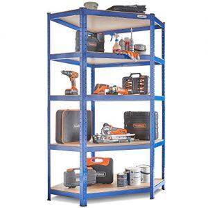 VonHaus-18m-5-Tier-Corner-Racking-Garage-Shelving-Utility-Heavy-Duty-Industrial-Steel-MDF-Boltless-Shelving-Unit-or-Workbench-Massive-875kg-Capacity-180cm-H-90cm-W-40-70cm-D-175kg-Per-Shelf-0