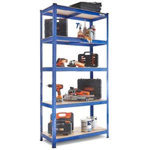 VonHaus-18m-5-Tier-Garage-Shelves-Racking-Utility-Heavy-Duty-Industrial-Steel-MDF-Boltless-Racking-Shelving-Unit-or-Workbench-Massive-875Kg-Capacity-180cm-H-90cm-W-40cm-D-175kg-Per-Shelf-0