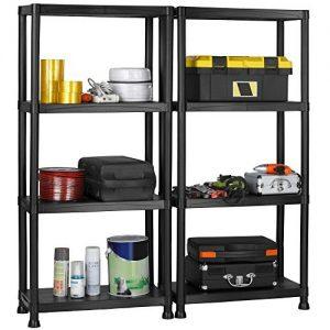 VonHaus-Pack-of-Two-4-Tier-Plastic-Shelving-Utility-Unit-Shed-Garage-Storage-Freestanding-Shelves-System-200Kg-Capacity-25Kg-Per-Shelf-Ideal-Office-Garden-Studio-Workshop-132-x-122-x-305cm-Wall-Braces-0