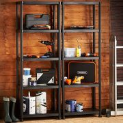 VonHaus-Pack-of-Two-5-Tier-Plastic-Shelving-Utility-Unit-Shed-Garage-Storage-Freestanding-Shelves-System-250Kg-Capacity-25Kg-Per-Shelf-Ideal-Office-Garden-Studio-Workshop-1725-x-122-x-305cm-Wall-Brace-0-0