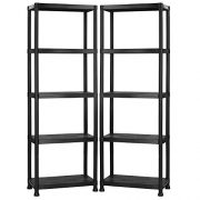 VonHaus-Pack-of-Two-5-Tier-Plastic-Shelving-Utility-Unit-Shed-Garage-Storage-Freestanding-Shelves-System-250Kg-Capacity-25Kg-Per-Shelf-Ideal-Office-Garden-Studio-Workshop-1725-x-122-x-305cm-Wall-Brace-0-1