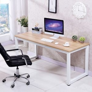 tinkertonk-Modern-Brown-Wood-Computer-Desk-Home-Office-Metal-Frame-Laptop-Table-PC-Workstation-0