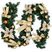 6Ft18M-Decorated-Garland-Christmas-Decoration-Xmas-Festive-Wreath-Garland-With-Berries-And-Pinecones-Gold-0-0
