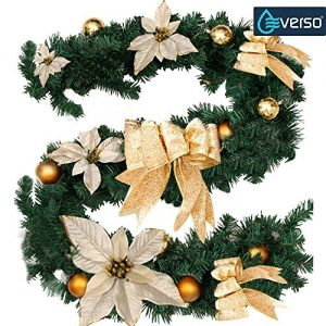 6Ft18M-Decorated-Garland-Christmas-Decoration-Xmas-Festive-Wreath-Garland-With-Berries-And-Pinecones-Gold-0