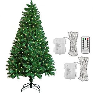 6ft-Artificial-Xmas-Christmas-Tree-2-Pack-40-LED-Warm-White-Outdoor-Battery-Fairy-Lights-Gift-Decorations-0