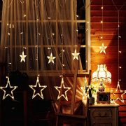 DESHIR-Star-Curtain-Lights-12-Stars-138-LEDs-Curtain-String-Lights-Stars-Christmas-Lights-Perfect-Decoration-for-Wedding-Christmas-Holiday-Parties-and-Home-Warm-White-UK-Plug-0-3