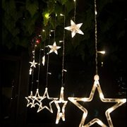 DESHIR-Star-Curtain-Lights-12-Stars-138-LEDs-Curtain-String-Lights-Stars-Christmas-Lights-Perfect-Decoration-for-Wedding-Christmas-Holiday-Parties-and-Home-Warm-White-UK-Plug-0-4