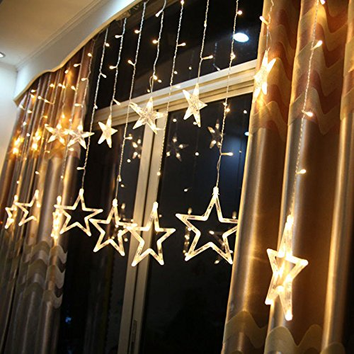 DESHIR-Star-Curtain-Lights-12-Stars-138-LEDs-Curtain-String-Lights-Stars-Christmas-Lights-Perfect-Decoration-for-Wedding-Christmas-Holiday-Parties-and-Home-Warm-White-UK-Plug-0
