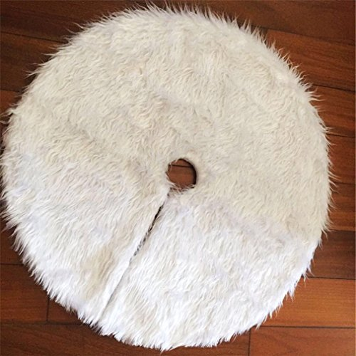 Hengsong White Christmas Tree Plush Skirt Base Cover